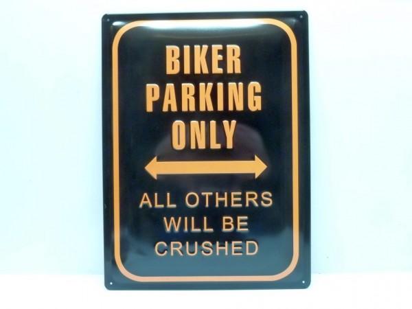 """Blechschild """"Biker parking only"""", 30x40 cm, A1"""