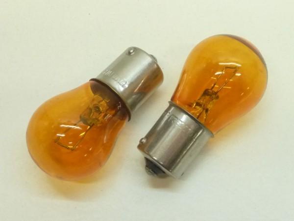 Glühlampen, Kugel, 12 V/21 W, orange, Paar, A1