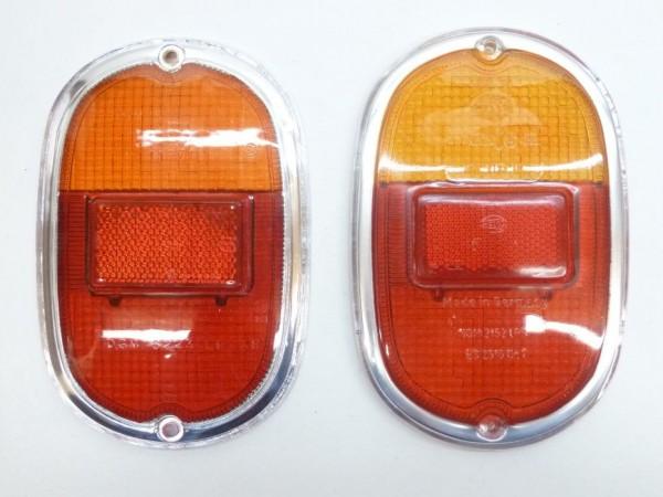 Rücklichtglas, orange/rot, mit Chromeffekt-Rand, X1