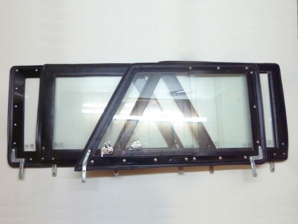 Steckfenster, Echtglas, schwarz, 4er-Satz, C1