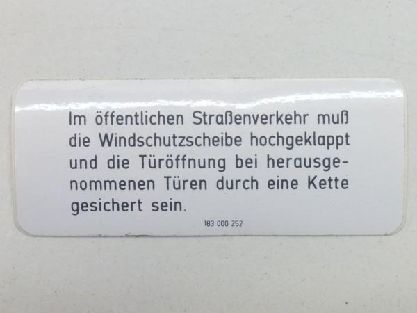 """Aufkleber """"Windschutzscheibe/Türen auf öffentlichen Straßen"""", A1"""