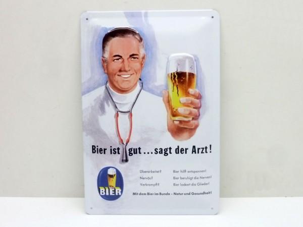 """Blechschild """"Bier ist gut"""", 20x30 cm, A1"""