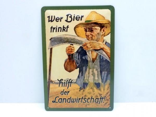 "Blechschild ""Wer Bier trinkt..."", 20x30 cm, A1"