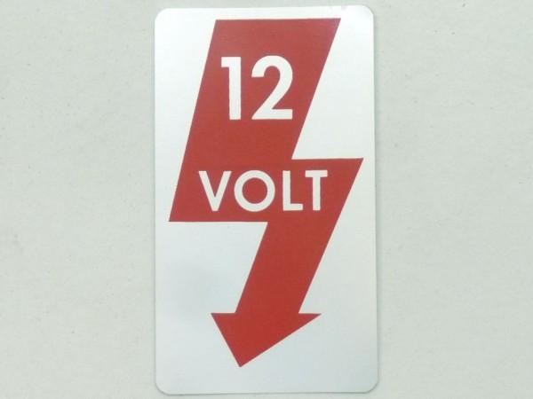 """Aufkleber """"12 V"""" in rotem Blitz, B1"""