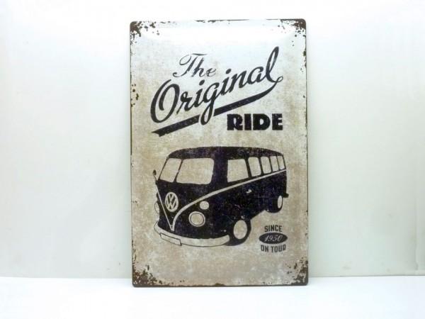 """Blechschild """"VW Bulli - the original ride"""", 40x60 cm, A1"""
