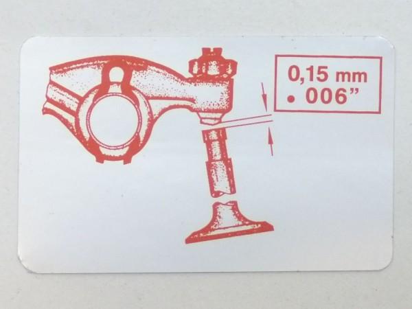 """Aufkleber """"Ventilspiel 0,15 mm"""", silbern, B1"""